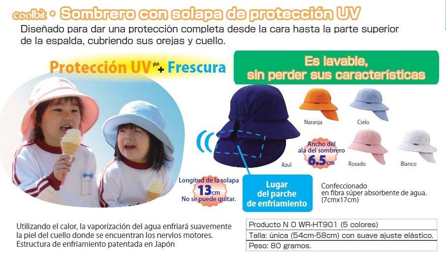 28f2a1dbcd78a Coolbit Gorras y Sombreros de Protección UV con solapa y parche de  enfriamiento fue diseñado y desarrollado en Japón. Son Productos  revolucionarios para ...